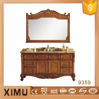 classical handmade red oak wood furniture bath vanity with double basin