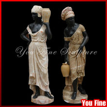 hand carved marble statue of beautiful girl black life size marble statue
