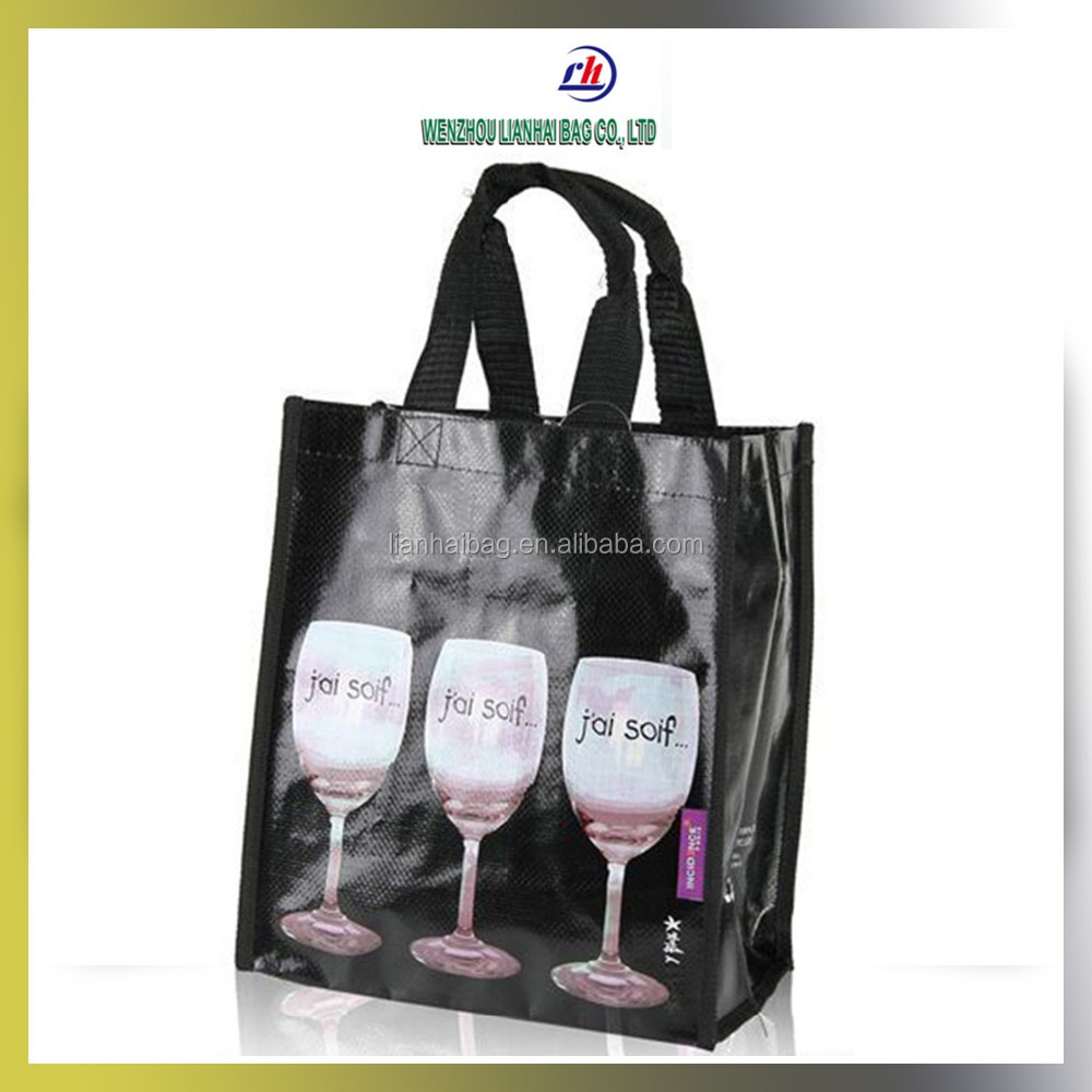 Eco-friendly handbag Laminated PP woven bag wine tote with 6 bottles