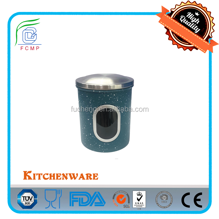 High quality jar with lids small canister in blue and white stone coating
