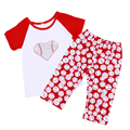 2016 leatest white and red sleeve T-shirt and pant baby child clothe Baseball Outfit