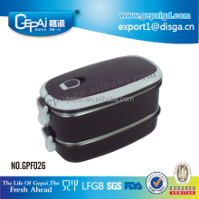 2 layers oval stackable stainless steel lunch box/food container/dinner box