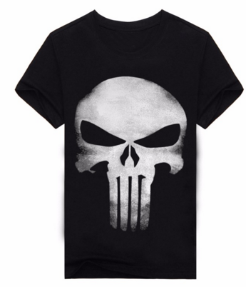 T049 Skull Print 3D T Shirt Men T-shirts 100% Cotton T-shirt Men Shirts Blouse