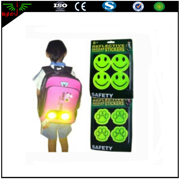 high visibility smile face halloween small gift light reflective PVC sticker for promotion