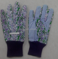 Hot Sell! Cotton Canvas Glove with Black PVC Dots for Petroleum Field