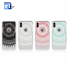 Colorful Mandala Henna White Flower Cute Art Pattern Design Slim Clear Case with Soft TPU Bumper+Hard PC Back Cover For iPhone X