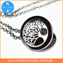Tree Of Life Essential Oil Diffuser Necklace Stainless Steel Locket Pendant