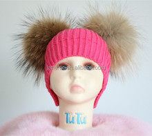 baby infant Kids flower winter knitted hat with two Raccoon Fur pom pom on side Tongxiang Factory