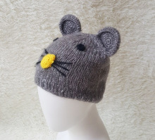 Mouse style wool knit big ears hat warm winter baby hat wholesale