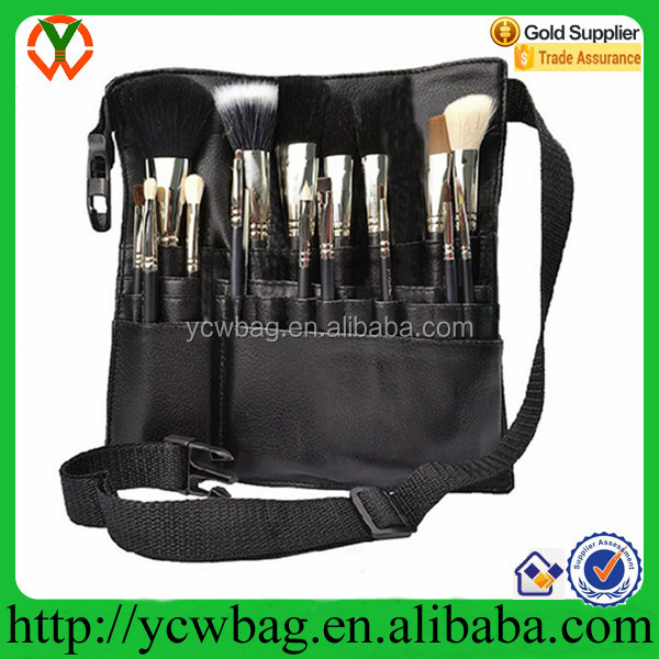 Professional PU Cosmetic Makeup Brush Bag with Belt Strap