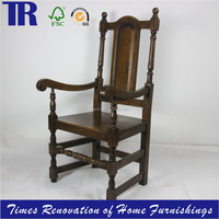 solid oak dining chair,antique carved oak chair,wood curved back arm chair
