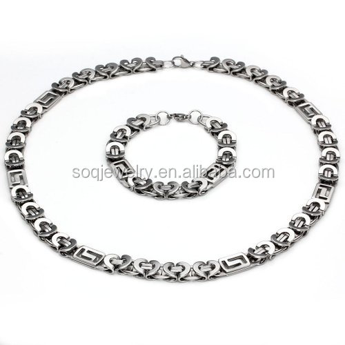 SP063018 China Yiwu Wholesale Stainless Steel Chain Set with Unqiue Heart Charms Designs