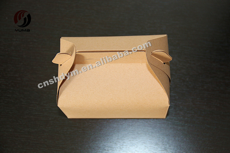disposable recycled greaseproof kraft box with handle