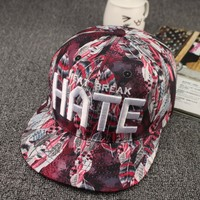 Fashion feathers printing material 3d hate embroidery snapback summer style cap for girls (SU-HPS113)