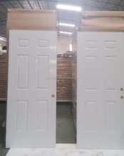6 panel white primed steel entry door,American steel door