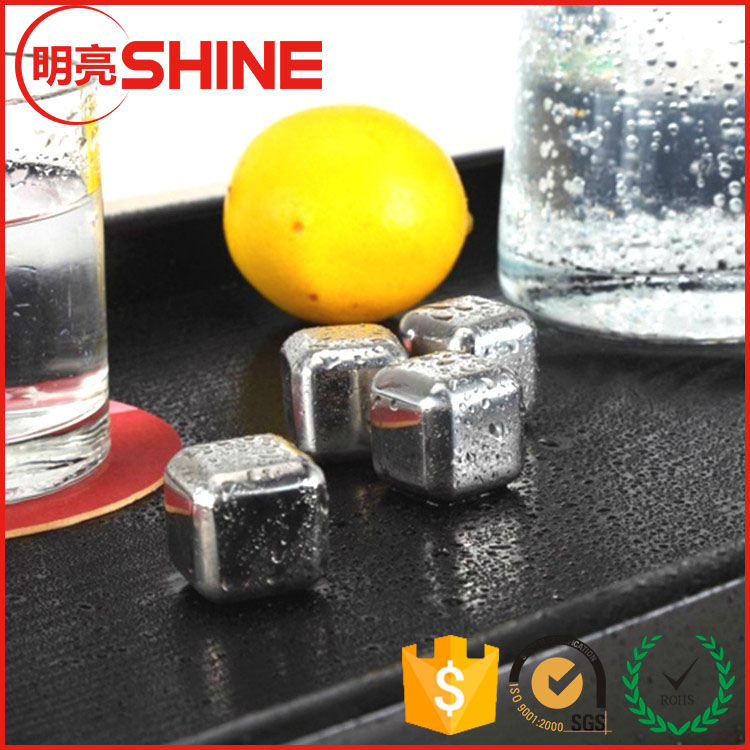 Bar accessories recyclable stainless steel whiskey ice cube stones , beer chiller cube , wine cooler stone