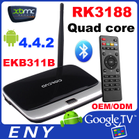 Full HD1080P RK3188 Quad core 2GB RAM 8GB ROM 802.11b/g/n wifi ir remote control Bluetooth android media player tv box usb2.0