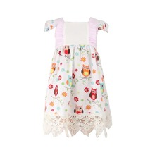 Children Frocks Designs Elegant Cup sleeve Summer Dresses night owl Printed Kids Girls Dresses