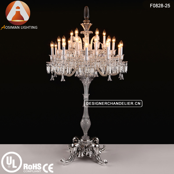25 Light 3-Layers Luxury Crystal Chandelier Floor Lamp
