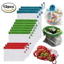 Reusable mesh produce bags washable eco friendly bags for grocery shopping & storage, fruit, vegetable, and toys
