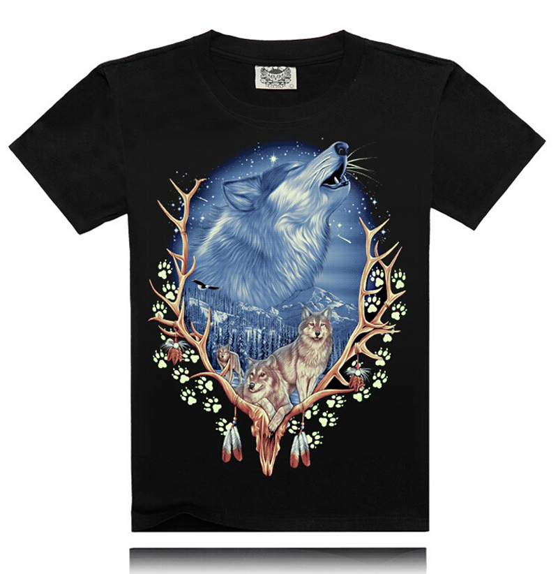 2015 Hot sale summer style Men's 3D T-shirts  O-Neck casual short sleeve wolf print men top tee  No.025