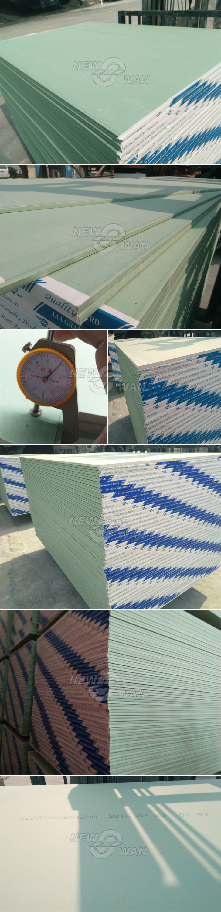 OEM Gypsum Plasterboard / Paper Faced Gypsum Board for sale