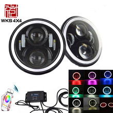 40W 12V RGB Colorful led head lamp anygel eye with Bluetooth Remote control 7 inch led headlight for jeep wrangler TJ JK