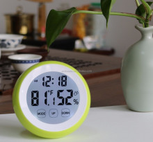Desk Table Round Promotion Alarm Clock Led Big Digit Temperature Thermometer and Hygrometer Household Temperature Indicator