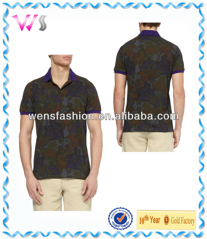 Paisley-print cotton-blend customize mens shirt polo