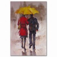rain scenery couple abstract oil painting on canvas