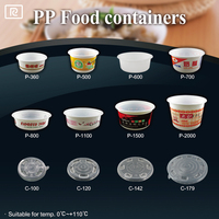 K-D1100-P PP 36oz 1100ml - round plastic container with lid