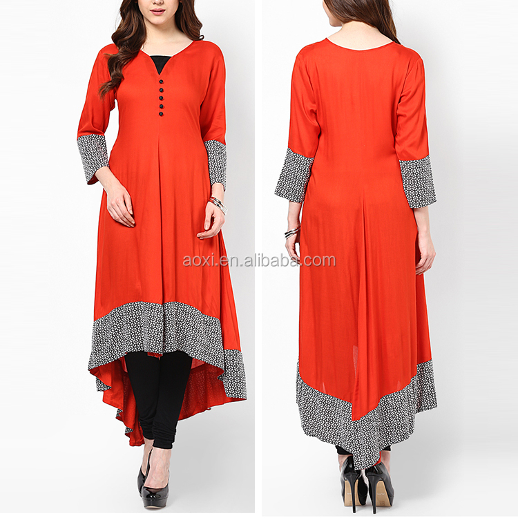 China manufacurer three quarters sleeves latest women kurti new designs v neck kurti