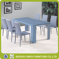 2016 popular heavy-duty glass and MDF wood top dining table