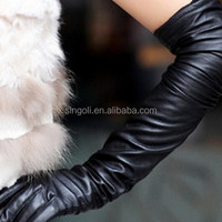 2014 Women Fahion Black Leather Long