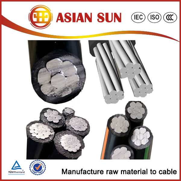 Aerial Twisted aluminum core 33kv abc aerial bundle cable