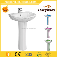 Bathroom ceramic sanitary ware wash hand basin with pedestal