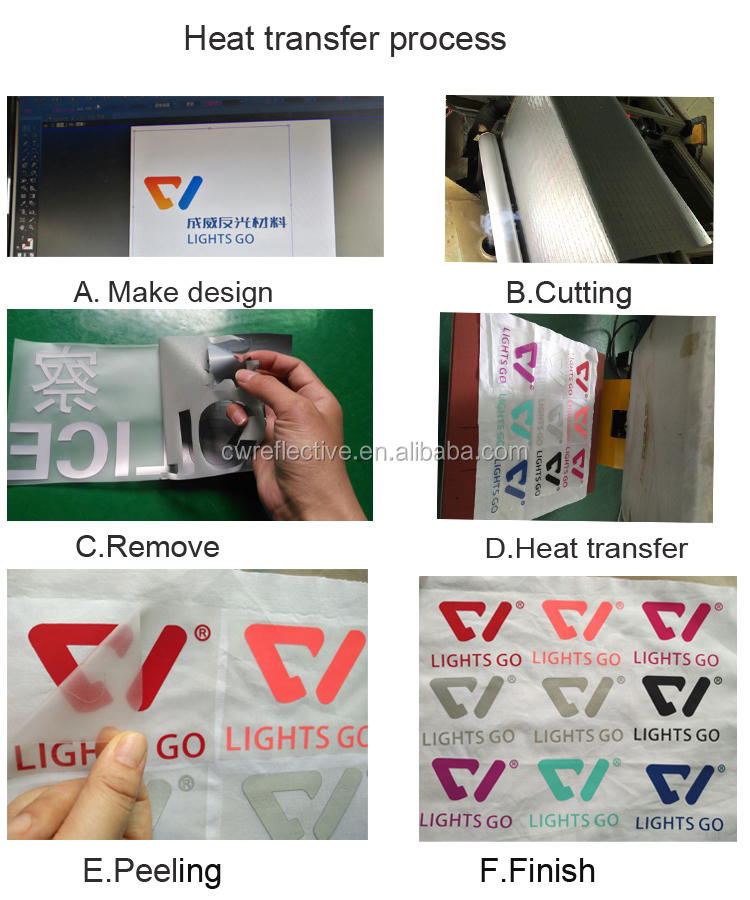 Custom made heat transfer rainbow glitter reflective garment labels