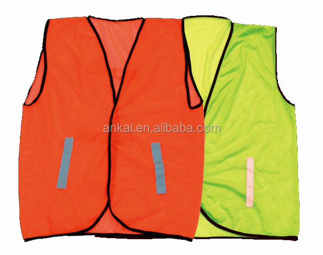 100% polyester lime hi vis safety string vest with pockets