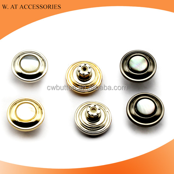 Metal alloy jeans button with shell decoration New