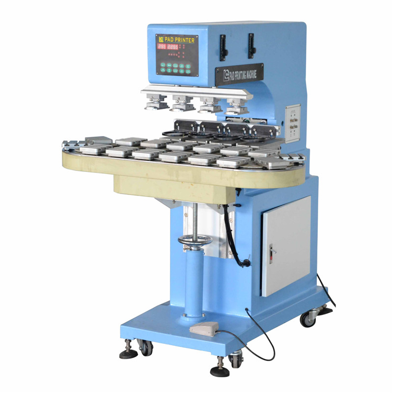 4 color pad printing machine with conveyor for bottle caps