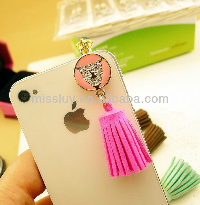 high quality crystal enamel color leopard with tassels pendant phone accessories phone dust plug
