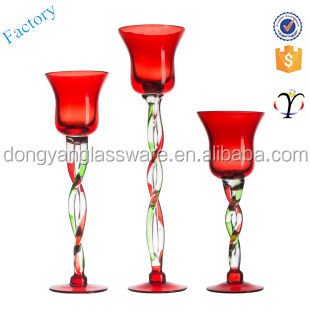 OEM tall Glass goblet Candle Holder with long Stem for Wedding Centrepiece mordern home decoration