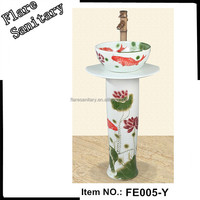 New Design hand painting fish Free Standing Wash Basin set