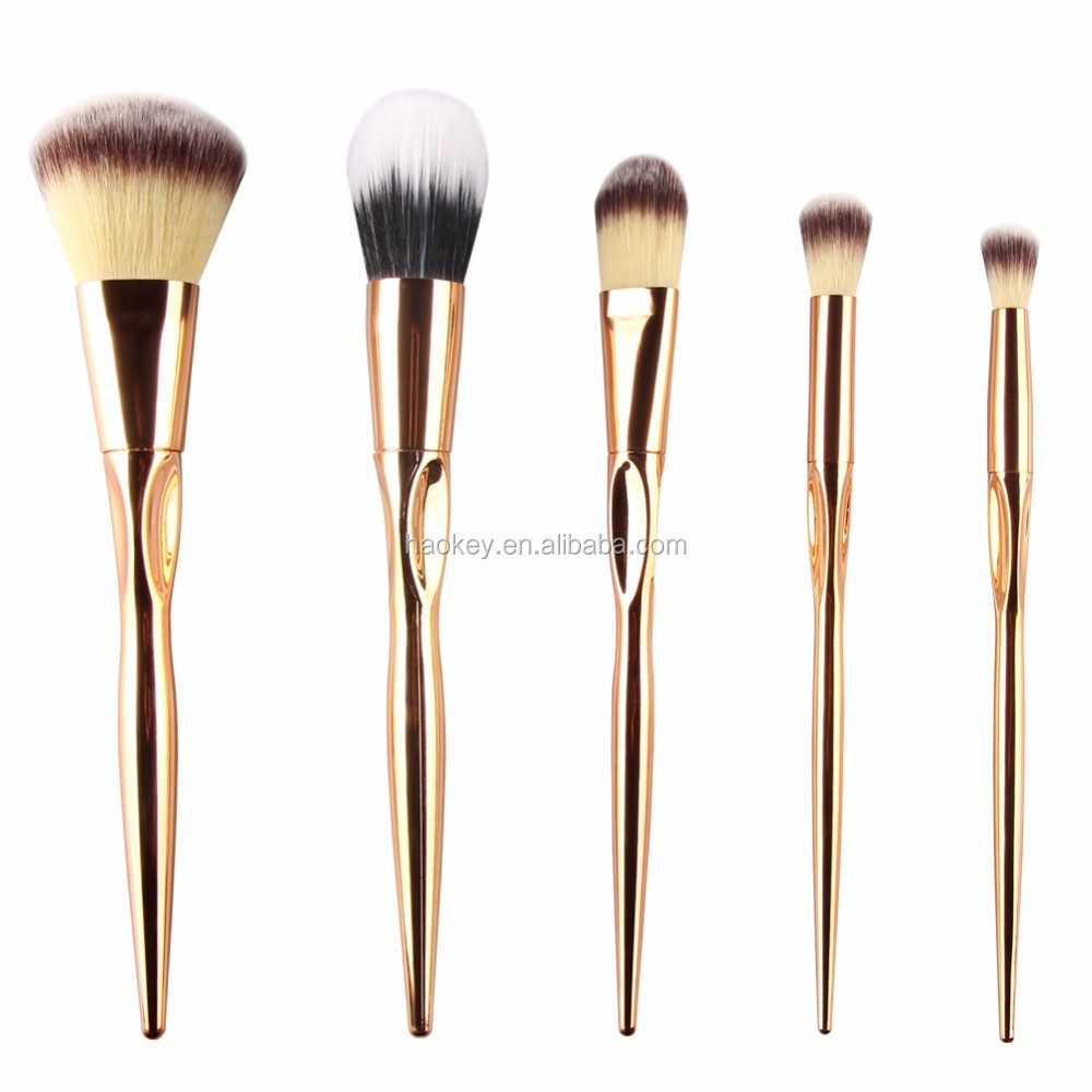 Specialized Kabuki Brush 5pcs Rose Gold Make Up Brushes Set