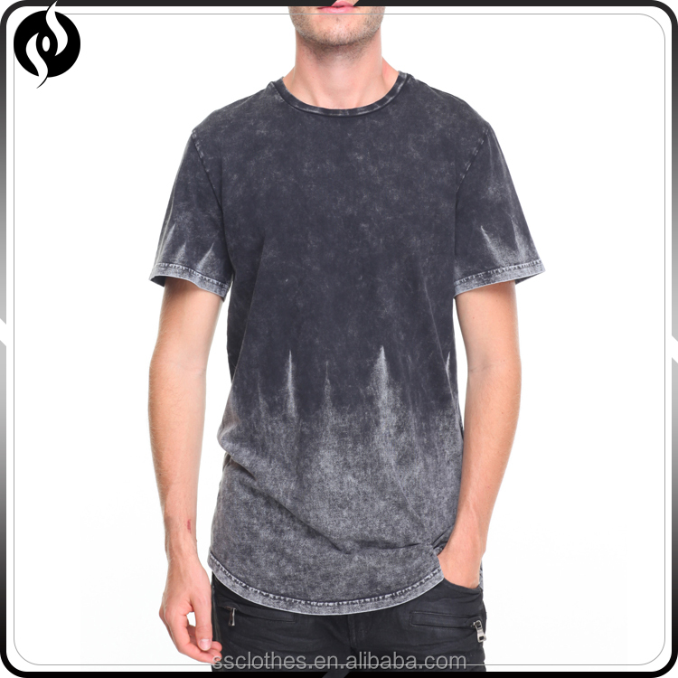Wholesale scallop mens curved hem short sleeve acid wash t shirts hip hop t shirt