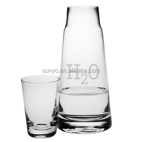 China factory Handblown customized shape frosted logo decal Korea soju wine decanter set