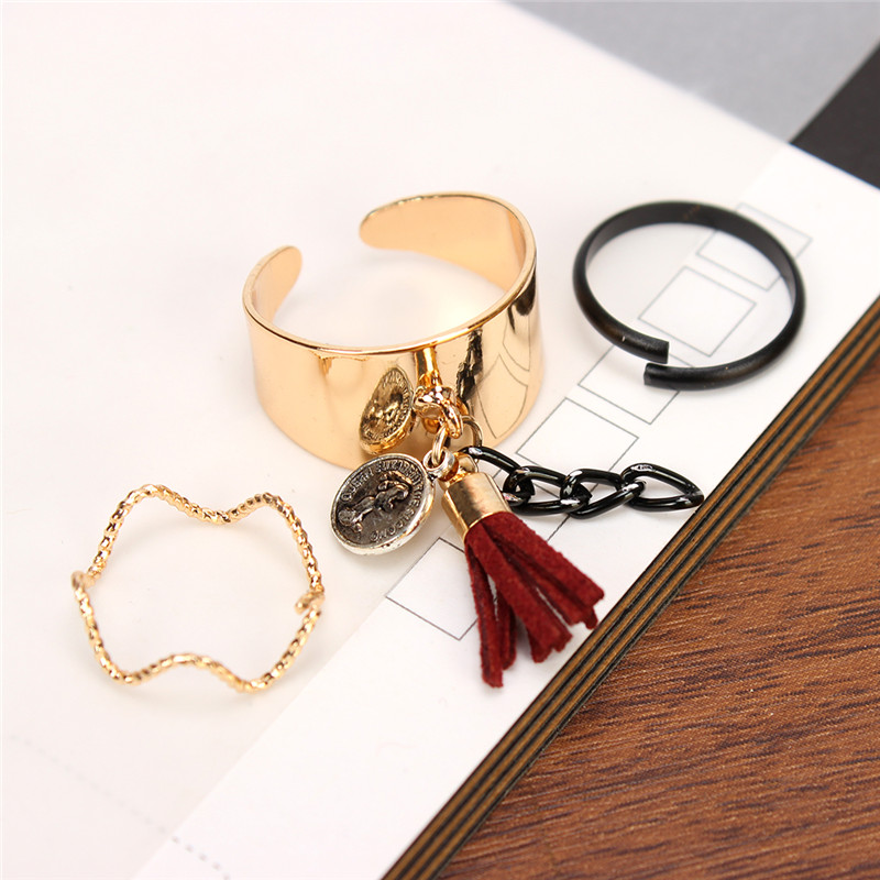 3 Pcs/Set Punk Style Avatar Leather Tassel Adjustable Open Rings For Women Girl Cool Anillos Jewelry