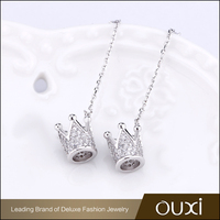 New Design Fashion Shinny White Crystal Stud Rhodium Plated Long Chain Earring Stud With Dangle Royal Crown