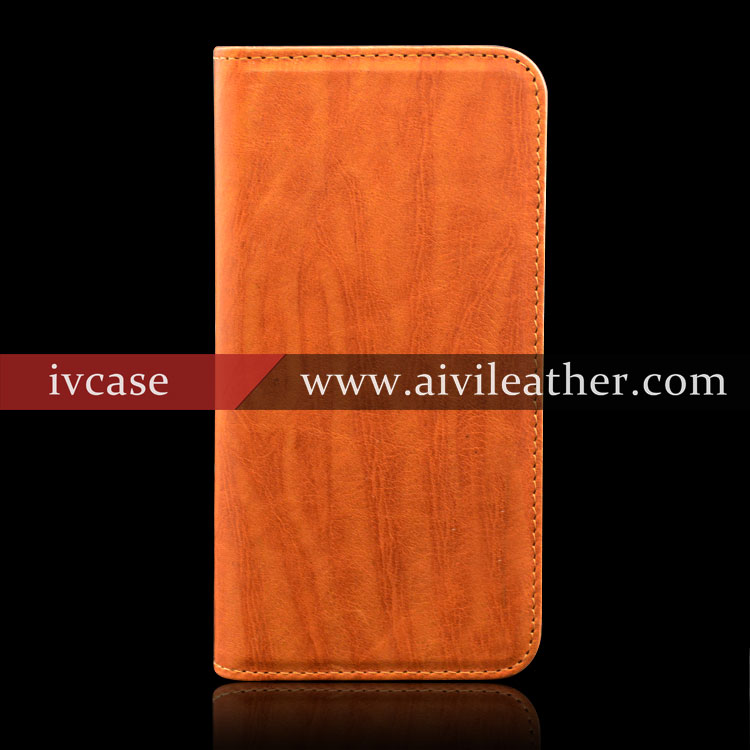 Genuine Leather Wooden Pattern Flip Cover For Iphone 6s Case Mobile Phone 2016