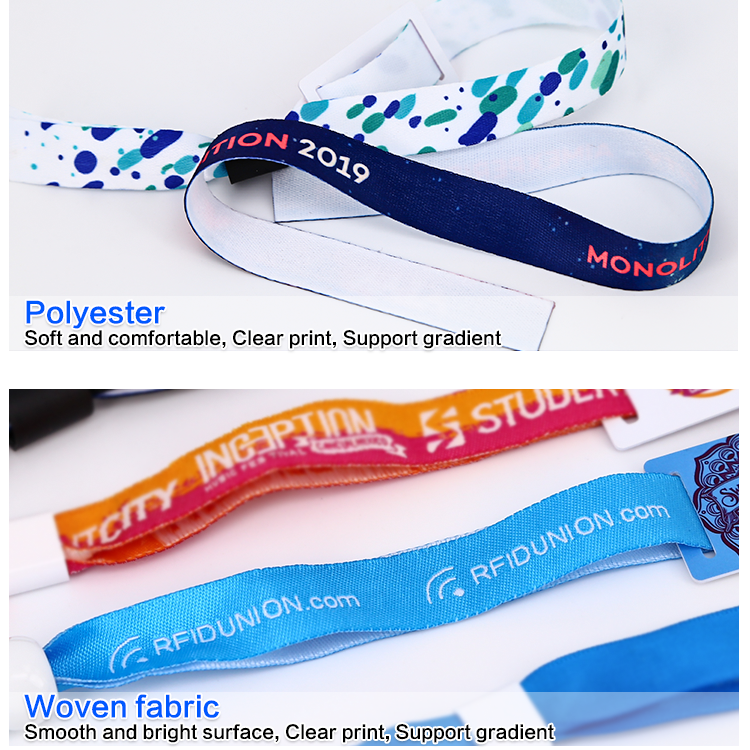 13.56Mhz HF 1K F08 Chip RFID Embedded Woven Wristband With QRCODE